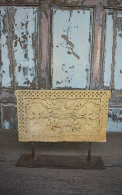 golden jaisalmer sandstone architectural panel on an iron stand circa 1890
